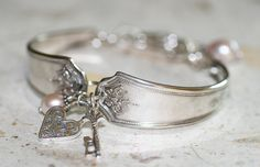 Heart Lock and Key Bracelet ~ Spoon art jewelry  http://www.flickr.com/photos/mindygjewelry/3271918329/in/photostream/