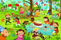 Birthday Party Piece Giant Floor Puzzle by Eurographics) Speech Language Therapy, Speech And Language, Picture Composition, Picture Writing Prompts, Puzzle Art, Cartoon Pics, Happy Colors, Drawing For Kids, Teaching English