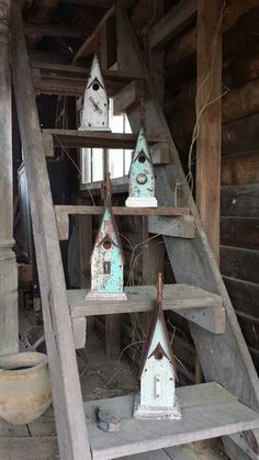Recycling is for the birds, jamb collection... beautiful birdhouses... tiny house love