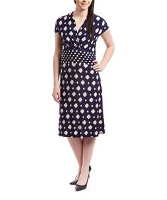 Look at this Navy & Beige Artistic Dot Surplice Dress on #zulily today!
