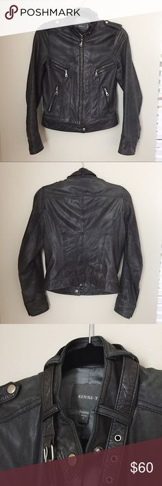 Kenna-T Moto Soft Black Leather Jacket Kenna-T Moto Soft Black Leather Jacket. Size small, could fit a smaller medium as well! Love this jacket, it's just too big on me now. The leather is buttery soft, sad to let it go. There is a small hole under one arm, that can easily be sewn (see last picture). Overall, great leather jacket and really comfortable to wear. Kenna-T Jackets & Coats