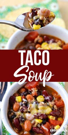 This quick and easy Taco Soup Recipe can be made in the slow cooker or right on the stovetop. Ready in no time,& taco soup is filled with ground beef, beans, corn and taco seasoning. It& a quick dinner that everyone loves Best Soup Recipes, Chicken Soup Recipes, Healthy Recipes, Pork Recipes, Beans Recipes, Healthy Soup, Slow Cooker Tacos, Slow Cooker Recipes, Cooking Recipes