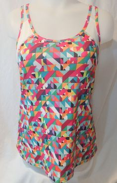 Women's Fabletics Carlsbad Tank Size Medium M Colorful Wicking Run Work Out Lift #Fabletics #ShirtsTops