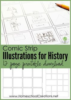 Comic strip illustrations for history - 12 page printable download || Homeschool Creations