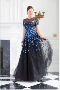 f1fc773400b Black all tulle gown with blue floral embellishments  TeriJon  floral  blue   tulle