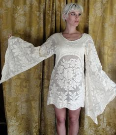 In The Past OOAK Lace Bell Angel Sleeves mini Dress