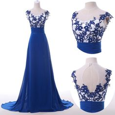 2015 Vintage Retro Floor Length Lace Royal Blue Chiffon Long Evening Dresses Hollowed Back Formal Prom Gown Cap Sleeves Open Back Prom Dress