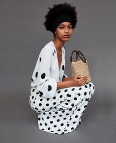 Image 1 of PLEATED POLKA DOT TROUSERS from Zara