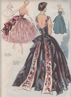 he Modes Royale Spring/Summer 1951 catalogue Vintage Dress Patterns, Vintage Dresses, Vintage Outfits, Vintage Clothing, Fashion Illustration Vintage, Illustration Mode, Illustrations, Look Fashion, Fashion Art