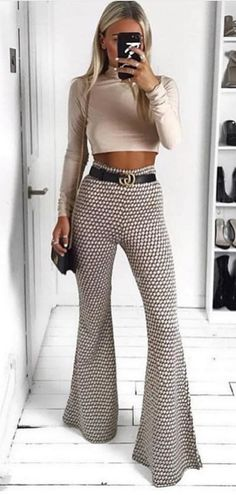 482094ec61 30+ Charming Spring Outfits To Copy Now. White Flare Pants90s ...