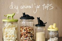 Mr. Kate | DIY animal jar tops (Pinner Note: Have already pinned several of these jar tops DIYs but I love these cat ones)