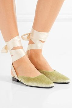 Heel measures approximately 30mm/ 1 inch Gold velvet Ties at ankle