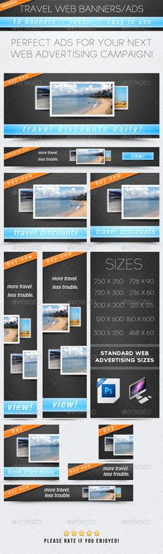 Buy Web Banner/Ad Bundle by MikeMoloney on GraphicRiver. Creative Banners, Web Banners, Web Company, 404 Pages, Summer Banner, Travel Design, Art Design, Graphic Design, Packing Tips For Travel