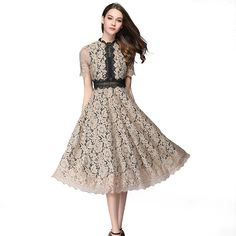 Sexy Hollow Out Lace A-Line Elegant Party Dress - Power Day Sale Slim Fit Dresses, Sexy Dresses, Vintage Dresses, Vintage Outfits, Girls Dresses, Vintage Fashion, Vintage Style, Elegant Party Dresses, Sexy Party Dress
