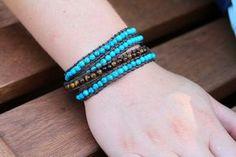 DIY Beaded Wrap bracelet - saw these for Sixty bulltacos at a fair