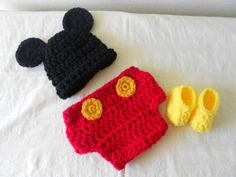 Cute Mickey Mouse hat diaper cover boots.with by DesignsbyKieshia, $25.00