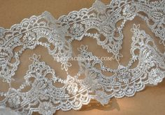 2 Yards Silver Lace Trim Retro Embroidered Tulle by Lacebeauty, $7.99