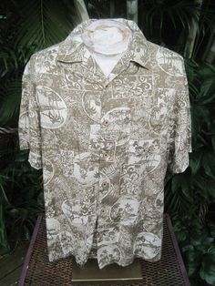 HAWAIIAN Aloha SHIRT XL pit to pit 25 CARIBBEAN cotton rayon tropical scenes #CaribbeanJoe #ButtonFront