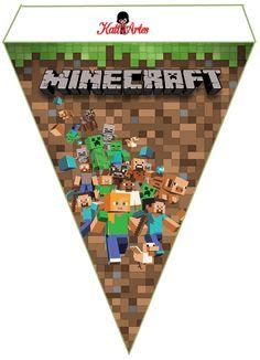 Alphabet Minecraft Pennants to Print Free. - Oh my Alfabetos! Minecraft Birthday Card, Minecraft Room, Minecraft Crafts, Minecraft Cake, Minecraft Party Decorations, Diy Birthday Decorations, Diy And Crafts, Crafts For Kids, Paper Crafts