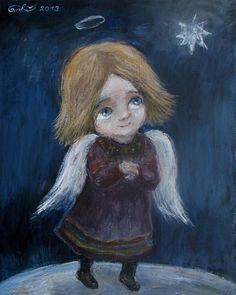Nino Chakvetadze (b1971, Tbilisi, Georgia) | ნინოს ანგელოზები | Нино Чакветадзе Matthew Bible, I Believe In Angels, Nature Spirits, Angels Among Us, Illustration, Angels In Heaven, Angel Art, Gustav Klimt, Painting For Kids