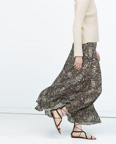 long draped printed skirt