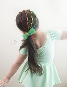 Rainbow Hairstyle for Saint Patrick's Day! I used pipe cleaners, and I also did this style using hair chalk and ribbon. #StPatricksDayHair #RainbowHair #toddlerhair #hairtutorialforgirls #hairdiy #stpattysday #stpatricksday