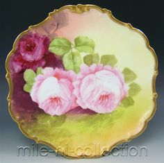 LIMOGES FRANCE HAND PAINTED ROSES CHARGER PLAQUE ARTIST JEAN