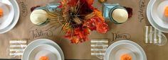 Kill two tablescape birds with one roll of Kraft paper! Eliminate the need for seating cards by lettering guest's names right on a paper table runner for a rustic style fall dinner.