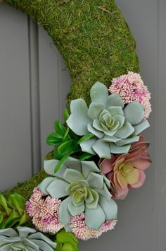 Succulent Moss Spring Wreath | My Crafty Spot - When Life Gets Creative