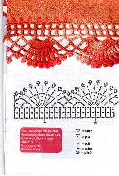 Crochet Border Patterns, Crochet Boarders, Crochet Lace Edging, Crochet Diagram, Crochet Chart, Thread Crochet, Crochet Designs, Crochet Hooks, Crochet Curtains