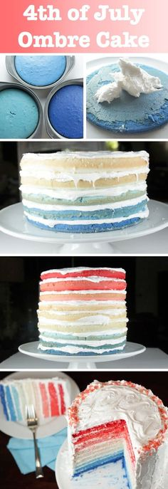 of July Ombre Cake Food Pix / Recipe by Picture on imgfave Food: Dessert: Cake & Frosting (CTS) No Bake Desserts, Just Desserts, Delicious Desserts, Yummy Food, Dessert Recipes, Cupcakes, Cupcake Cakes, Yummy Treats, Sweet Treats