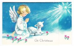 Vintage-Angel-with-Lamb-Under-Star-Christmas-Greeting-Card