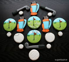 Golf theme/Fathers Day cookie favors - 18 rolled sugar cookies. $42.00, via Etsy.