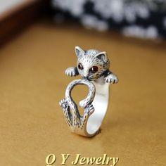 Anillo de los gatos grössenverstellbar Antik plata o oro animal motivo dedo joyas Cat