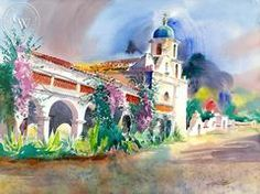 Mission San Luis Rey de Francia, 2003, California art by Ken Potter. HD giclee art prints for sale at CaliforniaWatercolor.com - original California paintings, & premium giclee prints for sale