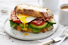 This tasty & healthy sandwich is great for replenishing your body after an indulgent evening. See more sandwich recipes & lunch recipes at Tesco Real Food. Bacon Sandwich Recipes, Sandwich Fillings, Healthy Sandwiches, Delicious Sandwiches, Bacon Recipes, Sandwich Ideas, Bacon Sandwiches, Easy Brunch Recipes, Lunch Recipes