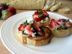 Strawberry, basil, and goat cheese brushetta