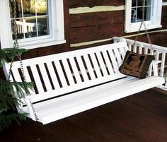 Shop a great selection of Outdoor 6 Foot Traditional English Porch Swing - Painted- Amish Made USA -White. Find new offer and Similar products for Outdoor 6 Foot Traditional English Porch Swing - Painted- Amish Made USA -White. Swing Painting, Cedar Stain, Walnut Stain, House With Porch, English Style, Wooden Pallets, Outdoor Furniture, Outdoor Decor, Porch Furniture