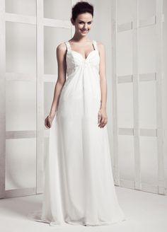 With Straps Empire Waist Chiffon Beach Wedding Dress