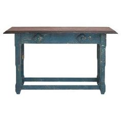 Antiqued console table with medallion accents.    Product: Console tableConstruction Material: WoodColor: Blue and brownDimensions: 36 H x 59 W x 17 D