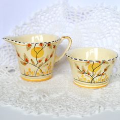 Art Deco Crown Devon Fieldings Tiny Creamer Jug and Sugar Dish - Creamy Yellow with Hand Painted Autumn Pattern Made in England 1930s