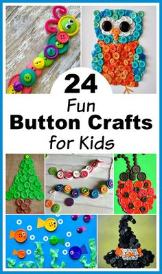 24 Fun Button Crafts for Kids- An easy way to keep kids busy at any time of year is with these fun button crafts for kids! These projects are inexpensive, not messy, and turn out great! | kids' craft, kids activity, summer activites for kids, winter break activites, how to keep kids busy, easy DIY project, owl, fish, ladybug, caterpillar, Christmas tree, witch's hat, Christmas, Halloween, spring, summer, simple projects for kids