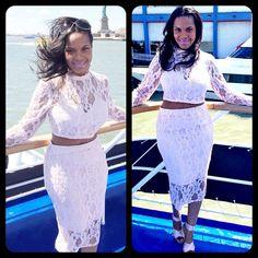 #KardashianKollection Pink Lace Crop Top (Large) & Midi Skirt (Large) ~ $100