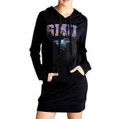 HHKU Womens Southern Methodist University Sweatshirt Pockets Hoodie Dress Black Size XL ** Want to know more, click on the image. (This is an affiliate link) #ExerciseandFitnessWomensClothing
