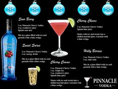 Holiday Cocktails made with Pinnacle Cherry vodka. Pinnacle Recipes, Pinnacle Vodka, Vodka Recipes, Drinks Alcohol Recipes, Cocktail Recipes, Refreshing Cocktails, Fun Cocktails, Holiday Cocktails, Fun Drinks