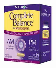 Complete Menopause AM and PM 30 caps x 2 bottles 60 Capsules by Natrol. $11.78. With Soy, Calcium & Black CohoshRelieves Hot Flashes Provides mood support Helps reduce night sweats Hot flashes and mood swings not only ruin a day but disrupt the good nights sleep that the body needs to handle menopausal changes. Natrol Complete Balance contains a special blend of vitamins, minerals and herbal ingredients designed to work separately, as an AM and PM formula, to address ...