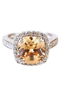 Sterling Silver Cushion Champagne CZ & Pave Halo Ring