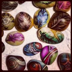 Colored pencil and ink on rocks for the art of fit