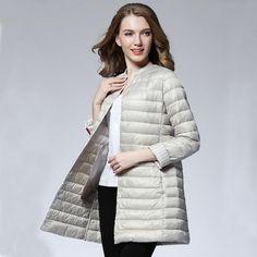 63cd75e620c1b Woman Spring Padded Warm Coat Ultra Light Duck Down Jacket Long Female  Overcoat Slim Solid Jackets