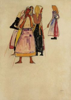 Egon Schiele - The Peasant Women , 1910
